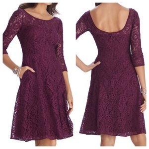 WHITE HOUSE Black Market maroon lace dress 10